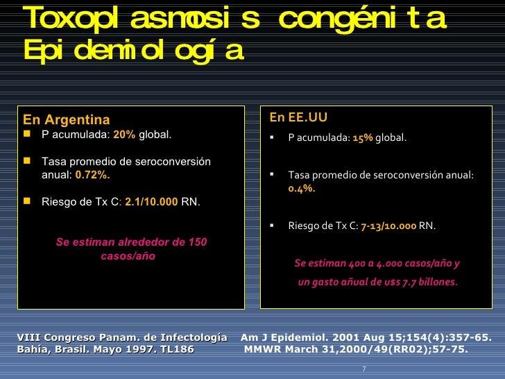 Toxoplasmosis  congénita Epidemiología  <ul><li>En EE.UU . </li></ul><ul><li>P acumulada:  15%   global. </li></ul><ul><li...