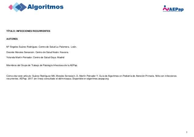 1 TÍTULO: INFECCIONES RECURRENTES AUTORES Mª Ángeles Suárez Rodríguez. Centro de Salud La Palomera. León. Desirée Morales ...