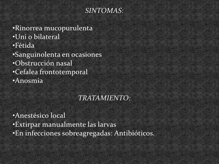 Características de las lesiones:oColor grisáceas, pardo o amarillo verdosooProducen obstrucción nasaloRinorrea fétida muco...