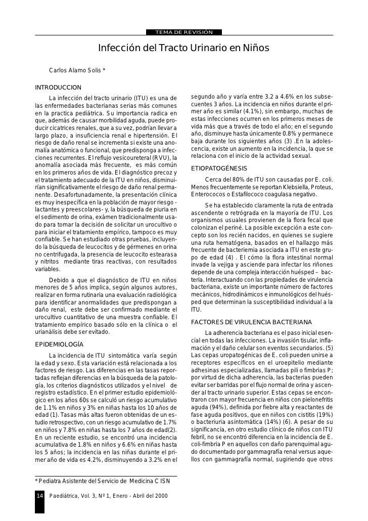 TEMA DE REVISIÓN                            Infección del Tracto Urinario en Niños       Carlos Alamo Solis *  INTRODUCCIO...