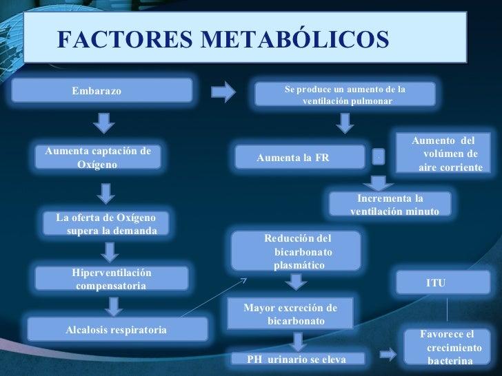 FACTORES METABÓLICOS  + Embarazo  Aumento  del volúmen de aire corriente Incrementa la ventilación minuto  Se produce un a...