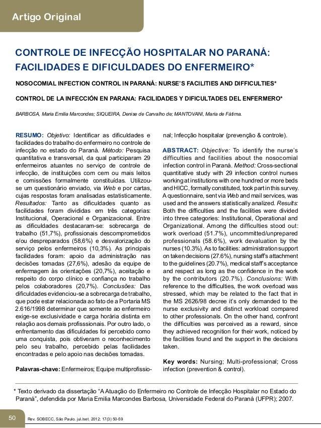 Artigo Original  CONTROLE DE INFECÇÃO HOSPITALAR NO PARANÁ:  FACILIDADES E DIFICULDADES DO ENFERMEIRO*  NOSOCOMIAL INFECTI...