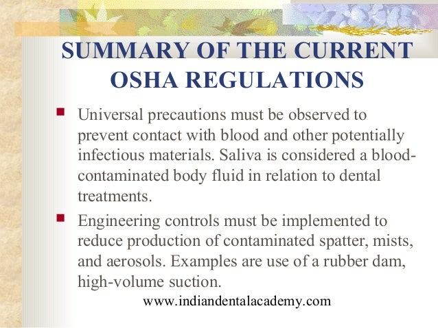 infection control in dentistry certified fixed orthodontic courses rh slideshare net osha dental sterilization guidelines osha dental guidelines 2017