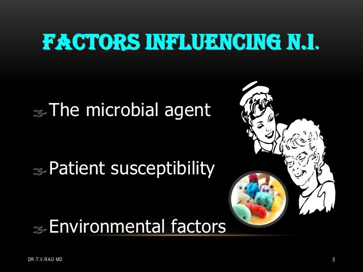 FACTORS INFLUENCING N.I. The microbial agent Patient susceptibility Environmental factorsDR.T.V.RAO MD                 ...