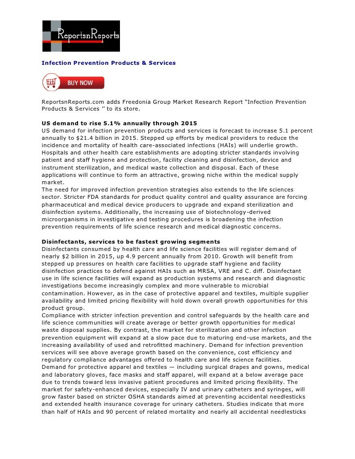 """Infection Prevention Products & ServicesReportsnReports.com adds Freedonia Group Market Research Report """"Infection Prevent..."""
