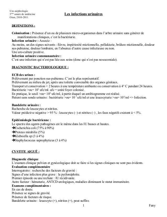 Uro-néphrologie5ème année de médecine                    Les infections urinairesOran, 2010-2011 DEFINITIONS : Colonisatio...