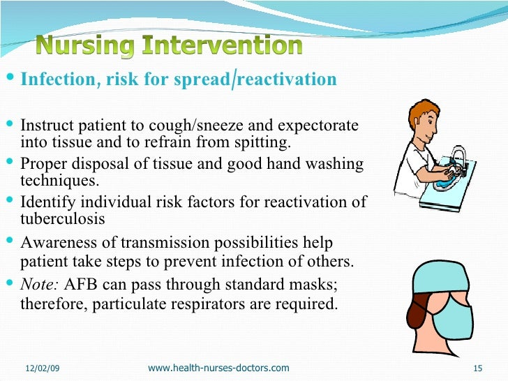 <ul><li>Infection, risk for spread/reactivation </li></ul><ul><li>Instruct patient to cough/sneeze and expectorate into ti...