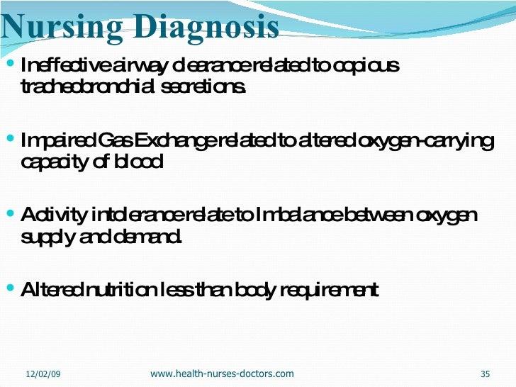 Nursing Diagnosis <ul><li>Ineffective airway clearance related to copious tracheobronchial secretions. </li></ul><ul><li>I...