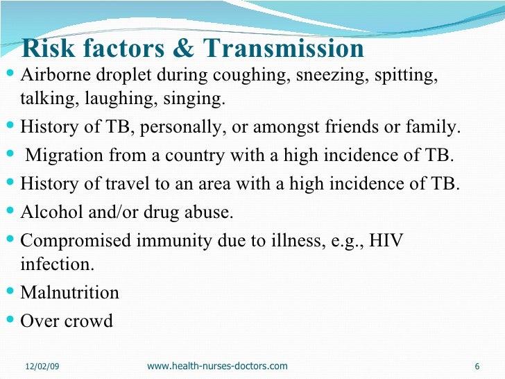 Risk factors & Transmission <ul><li>Airborne droplet during coughing, sneezing, spitting, talking, laughing, singing.  </l...