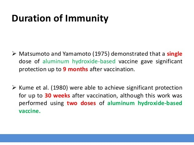 Duration of Immunity  Matsumoto and Yamamoto (1975) demonstrated that a single dose of aluminum hydroxide-based vaccine g...