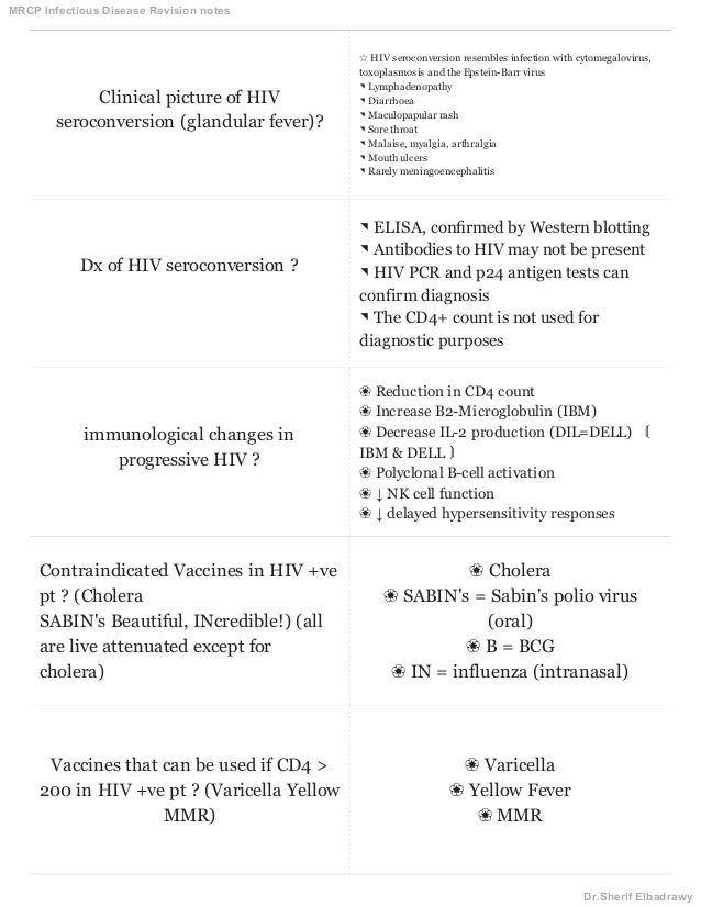 MRCP Infectious disease notes