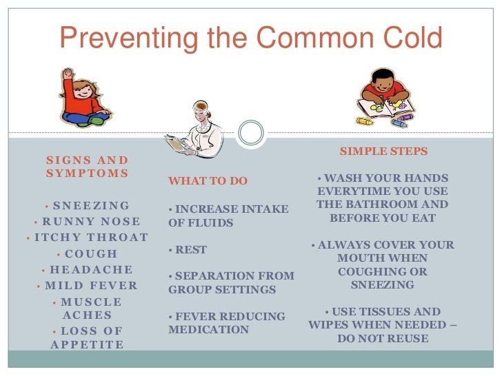 Preventing the Common Cold                                         SIMPLE STEPS  SIGNS AND  SYMPTOMS                      ...