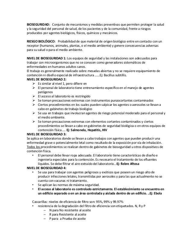 BIOSEGURIDAD: Conjunto de mecanismos y medidas preventivas que permiten proteger la salud y la seguridad del personal de s...