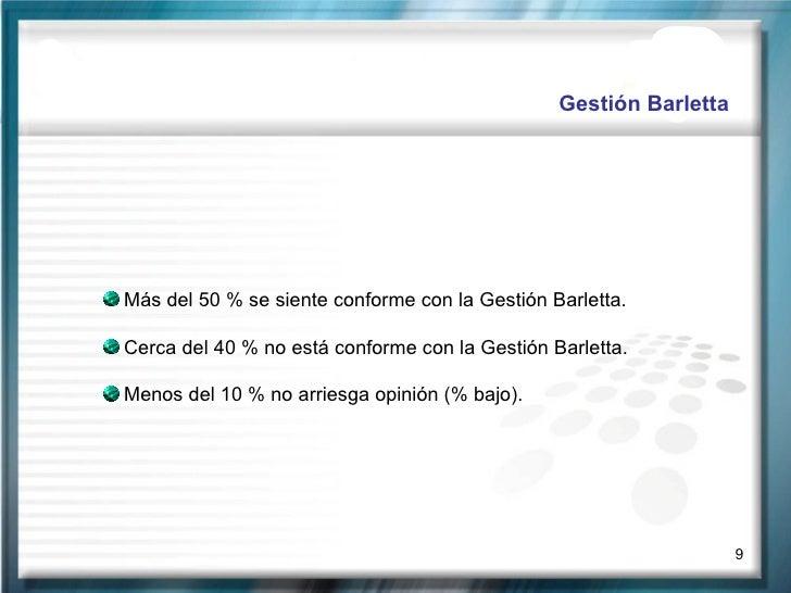 Gestión Barletta <ul><li>Más del 50 % se siente conforme con la Gestión Barletta. </li></ul><ul><li>Cerca del 40 % no está...