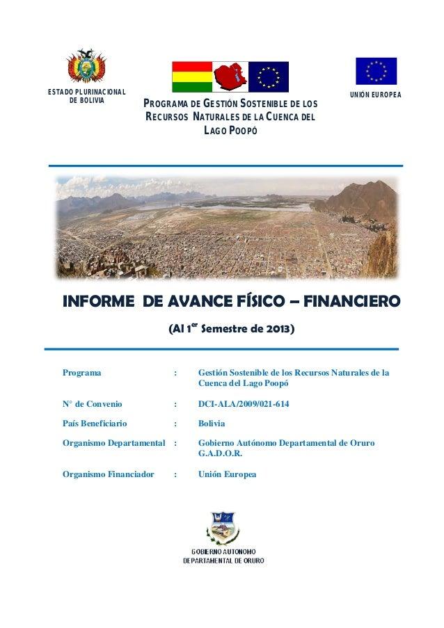 Programa de Gestión Sostenible de los Recursos Naturales de la Cuenca del Lago Poopó  ESTADO PLURINACIONAL DE BOLIVIA  PRO...