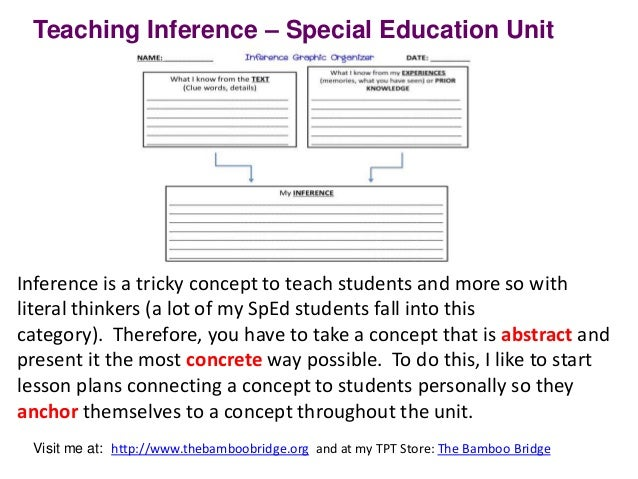 Teaching Inference Middle School Special Education