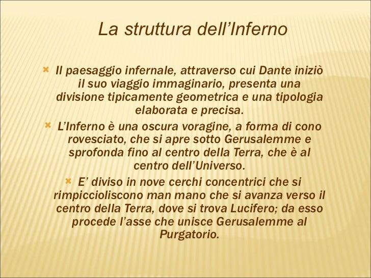 <ul><li>Il paesaggio infernale, attraverso cui Dante iniziò il suo viaggio immaginario, presenta una divisione tipicamente...