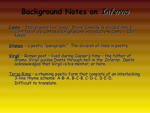 "Background Notes on InfernoCanto – Italian word for ""song."" Divine Comedy is divided into 3  cantitas of 33 cantos each (p..."