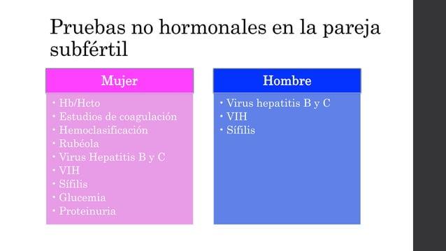 Pruebas no hormonales en la pareja subfértil Mujer • Hb/Hcto • Estudios de coagulación • Hemoclasificación • Rubéola • Vir...