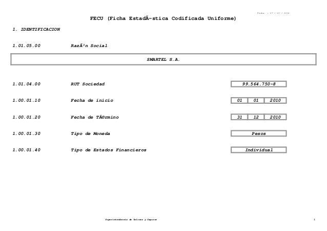 Fecha : 27 / 10 / 2012 FECU (Ficha EstadÃ-stica Codificada Uniforme) 1. IDENTIFICACION 1.01.05.00 Razón Social SMARTEL S....
