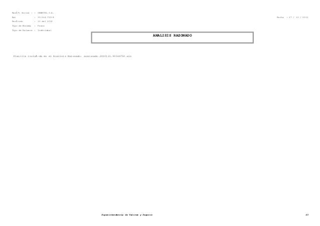 Razón Social : : SMARTEL S.A. Rut : 99.564.750-8 Fecha : 27 / 10 / 2012 PerÃ-odo : 12 del 2010 Tipo de Moneda : Pesos Tip...