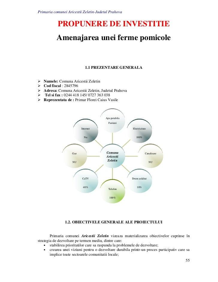 Primaria comunei Aricestii Zeletin-Judetul Prahova            PROPUNERE DE INVESTITIE           Amenajarea unei ferme pomi...