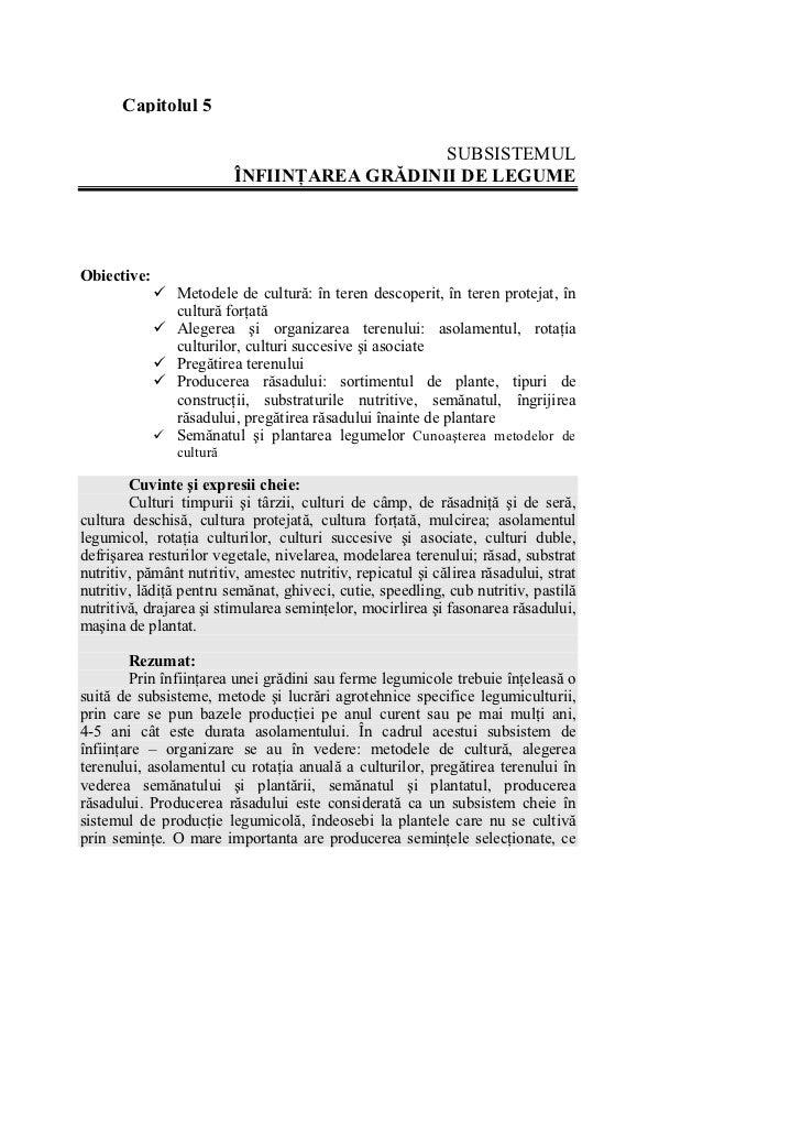 Capitolul 5                                             SUBSISTEMUL                          ÎNFIINŢAREA GRĂDINII DE LEGUM...