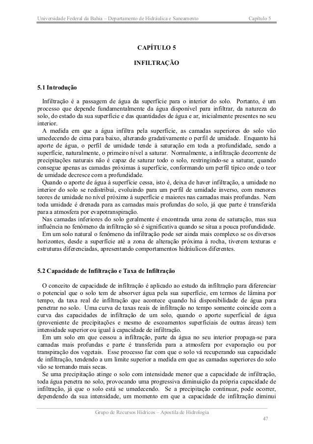 Universidade Federal da Bahia – Departamento de Hidráulica e Saneamento Capítulo 5 Grupo de Recursos Hídricos – Apostila d...