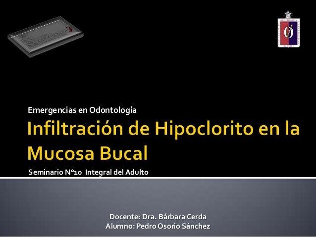 Emergencias en OdontologíaSeminario N°10 Integral del AdultoDocente: Dra. Bárbara CerdaAlumno: Pedro Osorio Sánchez