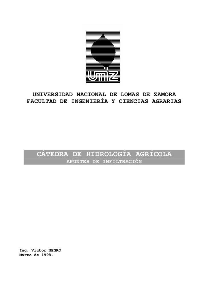 UNIVERSIDAD NACIONAL DE LOMAS DE ZAMORA   FACULTAD DE INGENIERÍA Y CIENCIAS AGRARIAS       CÁTEDRA DE HIDROLOGÍA AGRÍCOLA ...