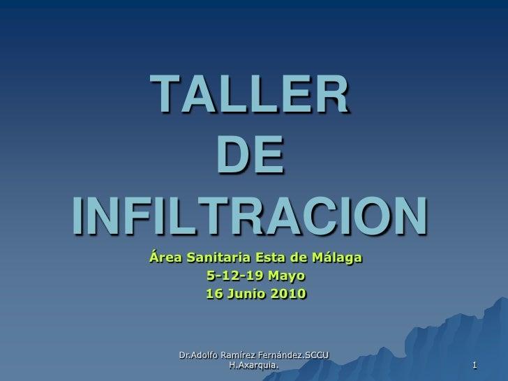 Dr.Adolfo Ramírez Fernández.SCCUH.Axarquia. <br />1<br />TALLER DEINFILTRACION<br />Área Sanitaria Esta de Málaga <br />5-...