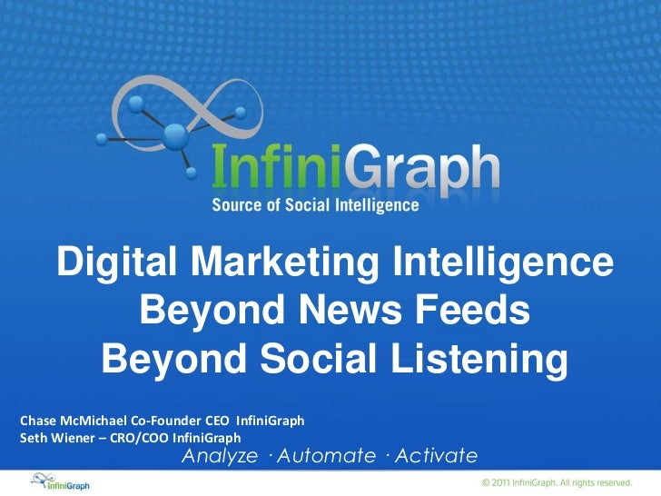 Digital Marketing Intelligence         Beyond News Feeds       Beyond Social ListeningChase McMichael Co-Founder CEO Infin...