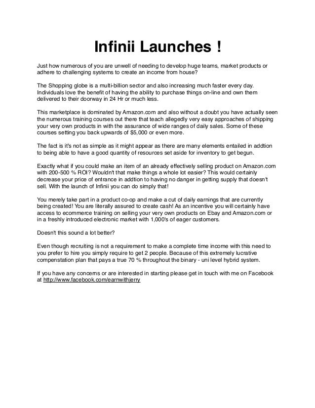 Infinii Launches ! Just how numerous of you are unwell of needing to develop huge teams, market products or adhere to chall...