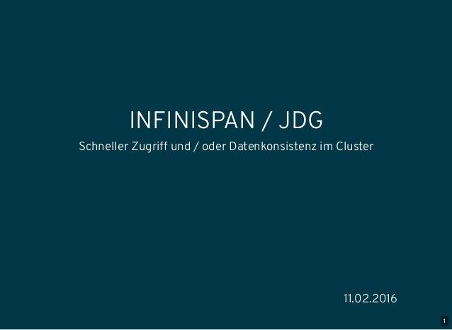 1 INFINISPAN / JDG Schneller Zugriff und / oder Datenkonsistenz im Cluster 11.02.2016