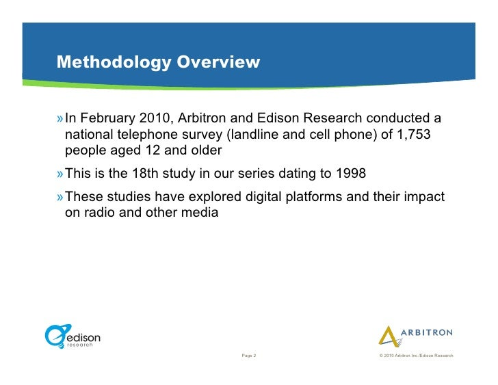 Methodology Overview  »In February 2010, Arbitron and Edison Research conducted a   national telephone survey (landline a...