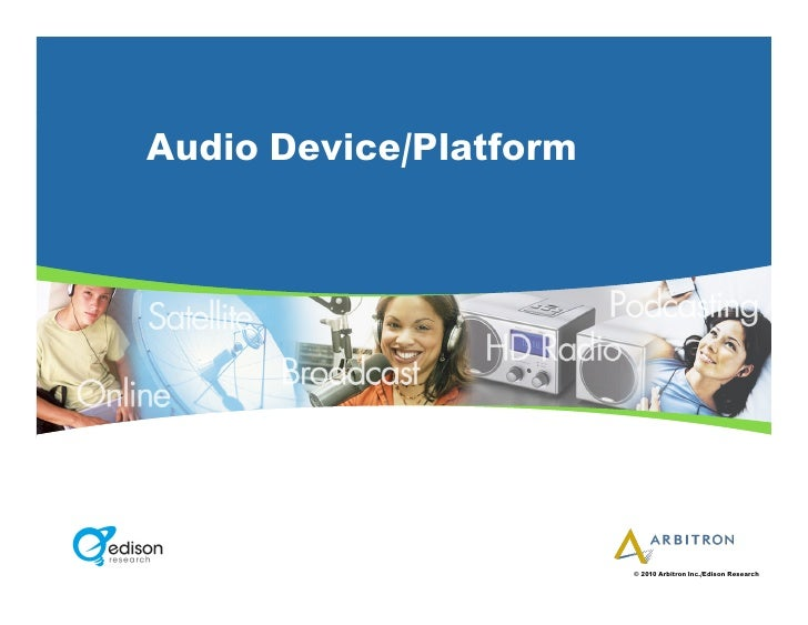 Audio Device/Platform                             © 2010 Arbitron Inc./Edison Research