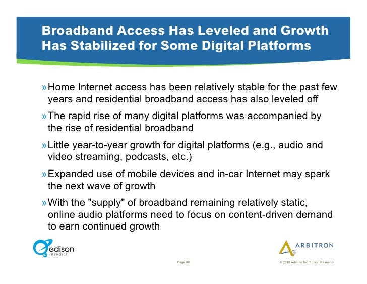 Broadband Access Has Leveled and Growth Has Stabilized for Some Digital Platforms  »Home Internet access has been relativ...