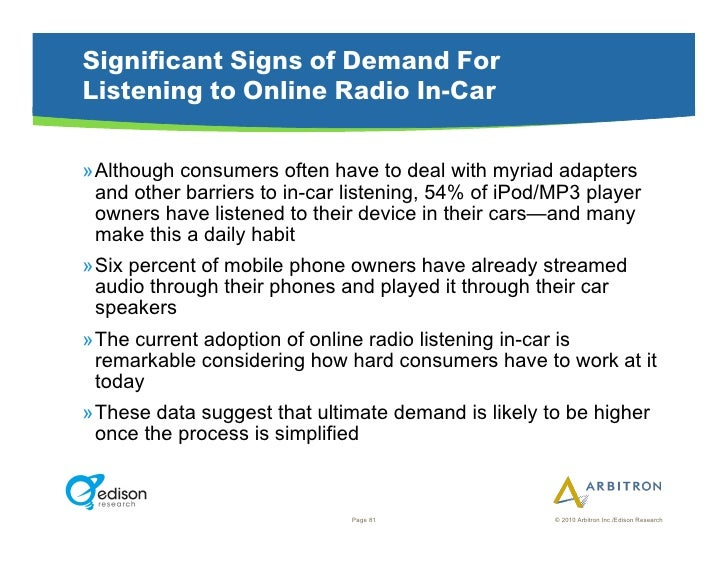 Significant Signs of Demand For Listening to Online Radio In-Car  »Although consumers often have to deal with myriad adap...