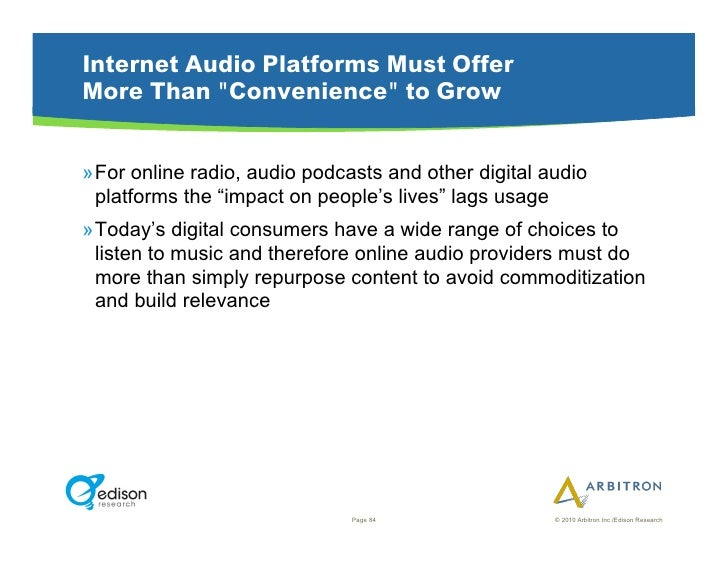 """Internet Audio Platforms Must Offer More Than """"Convenience"""" to Grow   »For online radio, audio podcasts and other digital..."""