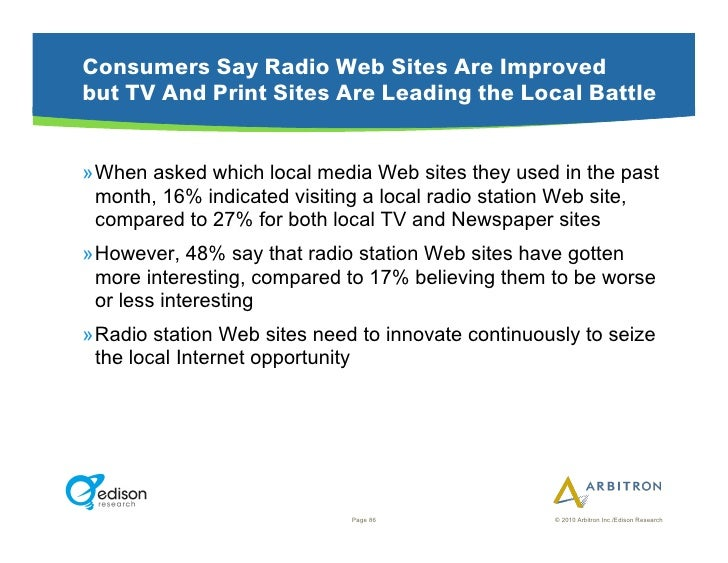 Consumers Say Radio Web Sites Are Improved but TV And Print Sites Are Leading the Local Battle   »When asked which local ...