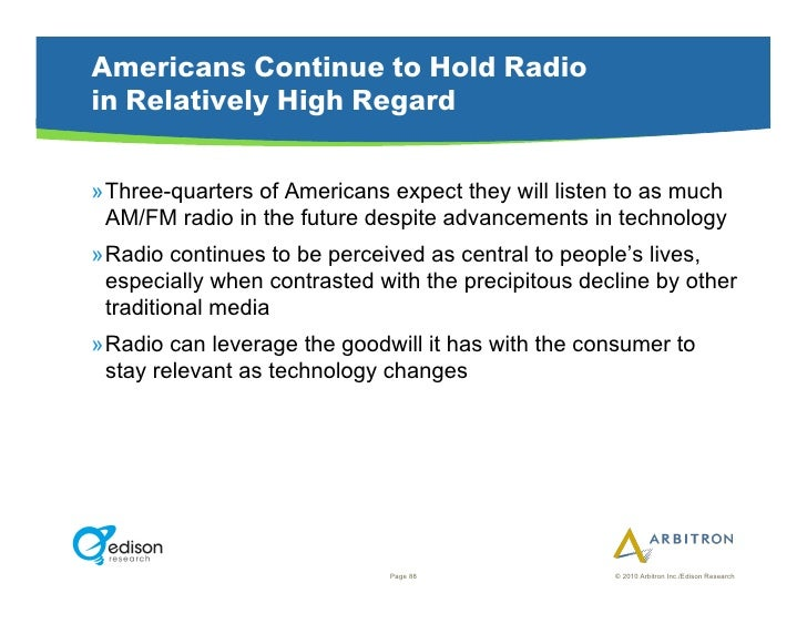 Americans Continue to Hold Radio in Relatively High Regard  »Three-quarters of Americans expect they will listen to as mu...