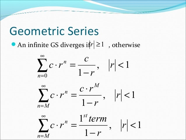 how to find r in a geometric infinite series