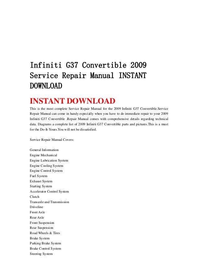 Array - infiniti g37 convertible 2009 service repair manual instant download  rh   slideshare net