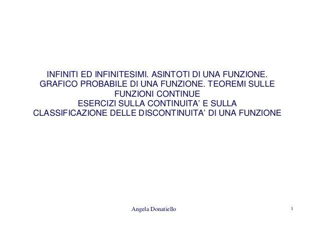 Angela Donatiello 1 INFINITI ED INFINITESIMI. ASINTOTI DI UNA FUNZIONE. GRAFICO PROBABILE DI UNA FUNZIONE. TEOREMI SULLE F...