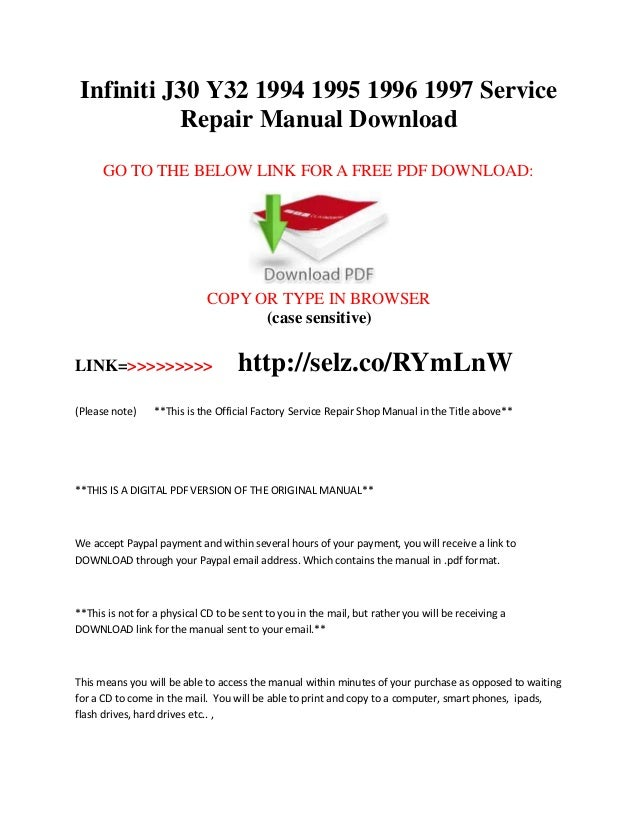 infiniti j30 y32 1994 1995 1996 1997 service repair manual download rh slideshare net 1997 infiniti i30 repair manual 1997 infiniti i30 repair manual