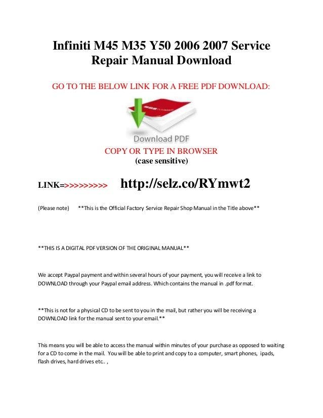 infiniti m45 m35 y50 2006 2007 service repair manual download rh slideshare net 2003 infiniti m45 repair manual 2003 infiniti m45 service manual pdf