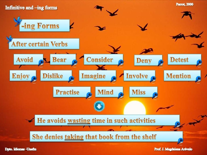 Parrot, 2000<br />Infinitive and –ing forms<br />-ingForms<br />After certain Verbs<br />Avoid<br />Bear<br />Consider<br ...