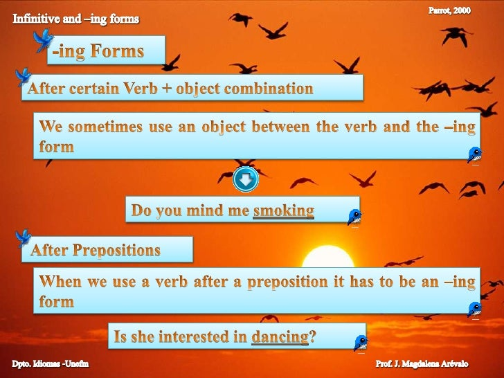 Parrot, 2000<br />Infinitive and –ing forms<br />-ingForms<br />After certain Verb + object combination<br />We sometimes ...