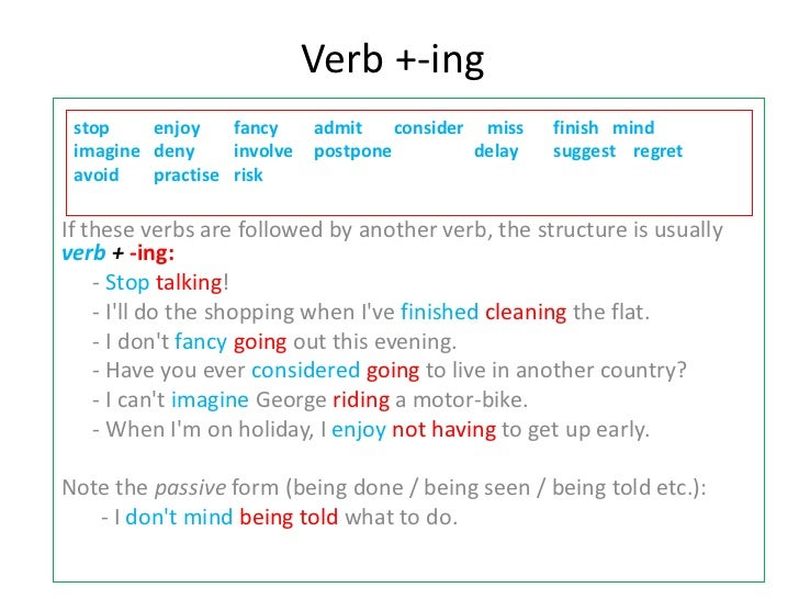 Verb +-ing stop    enjoy    fancy     admit    consider miss   finish mind imagine deny     involve   postpone         del...