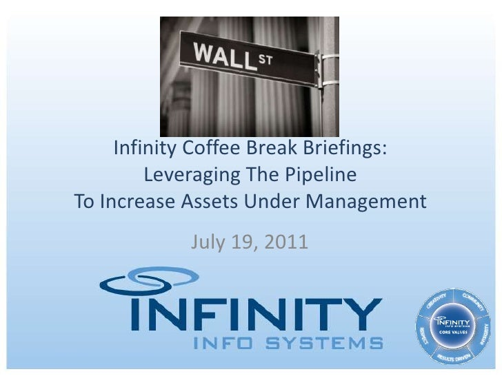 Infinity Coffee Break Briefings:Leveraging The PipelineTo Increase Assets Under Management<br />July 19, 2011<br />
